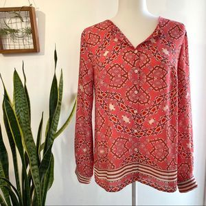 Talbots patterned button up work shirt size small